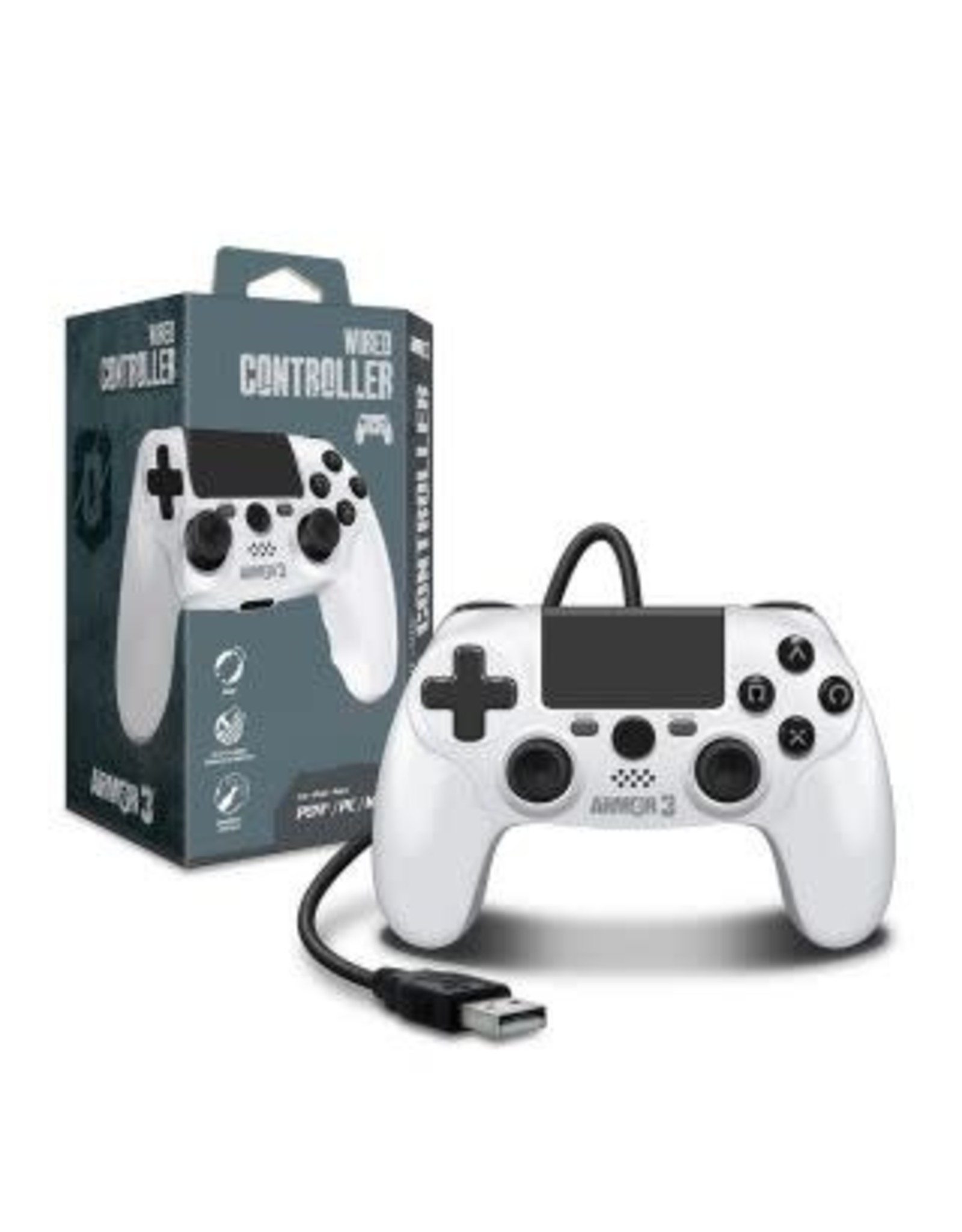 Wired Game Controller for PS4 / PC / Mac (White) - Armor3