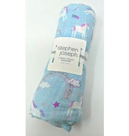 Cotton Muslin Swaddle Blanket - unicorn