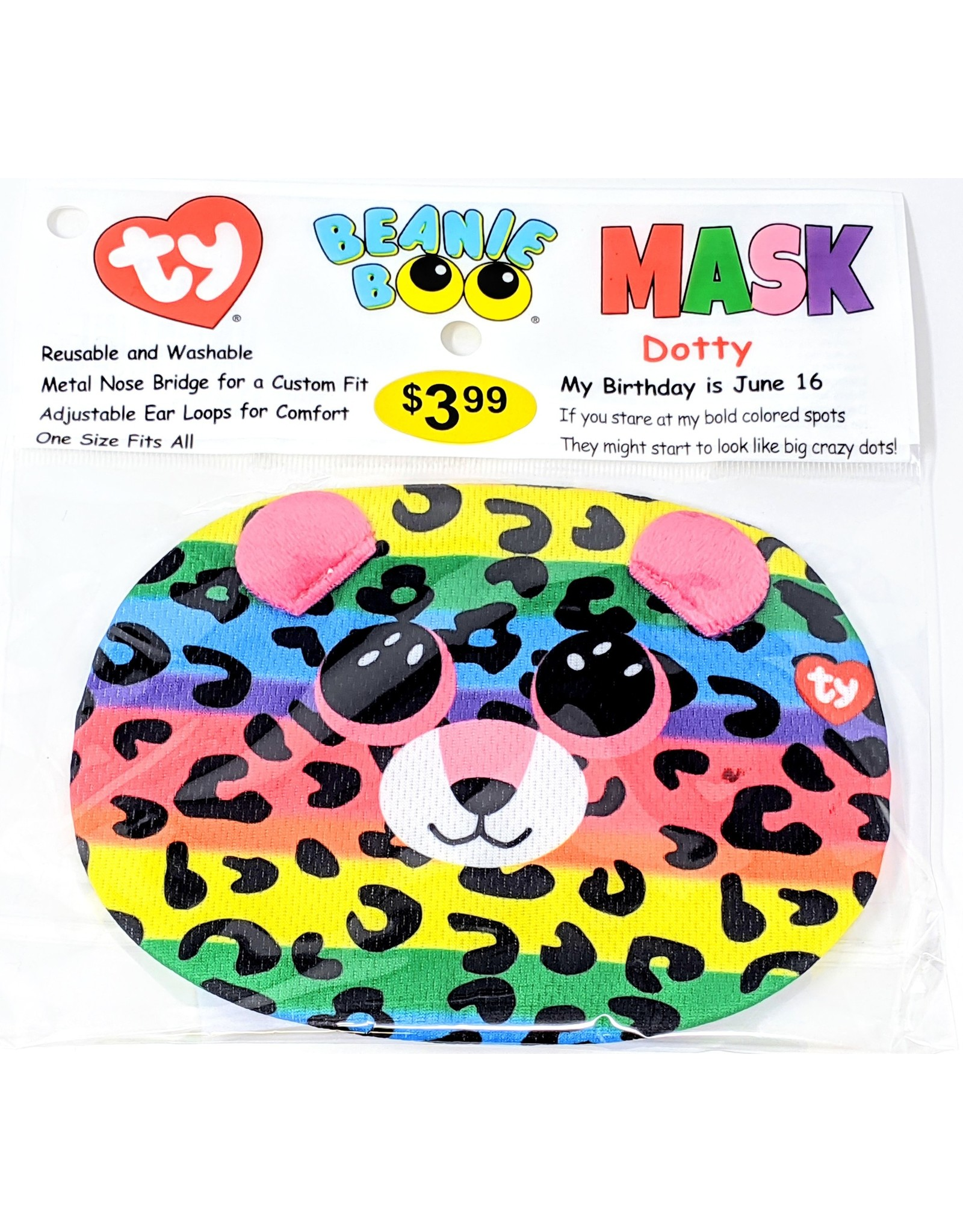 TY Face Mask Beanie Boo - Dotty