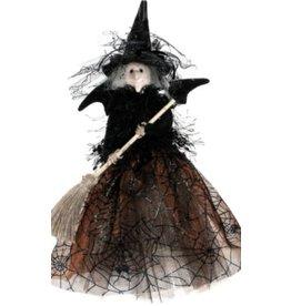 """Happy Witch 10.75"""" - orange/blk, Standing"""