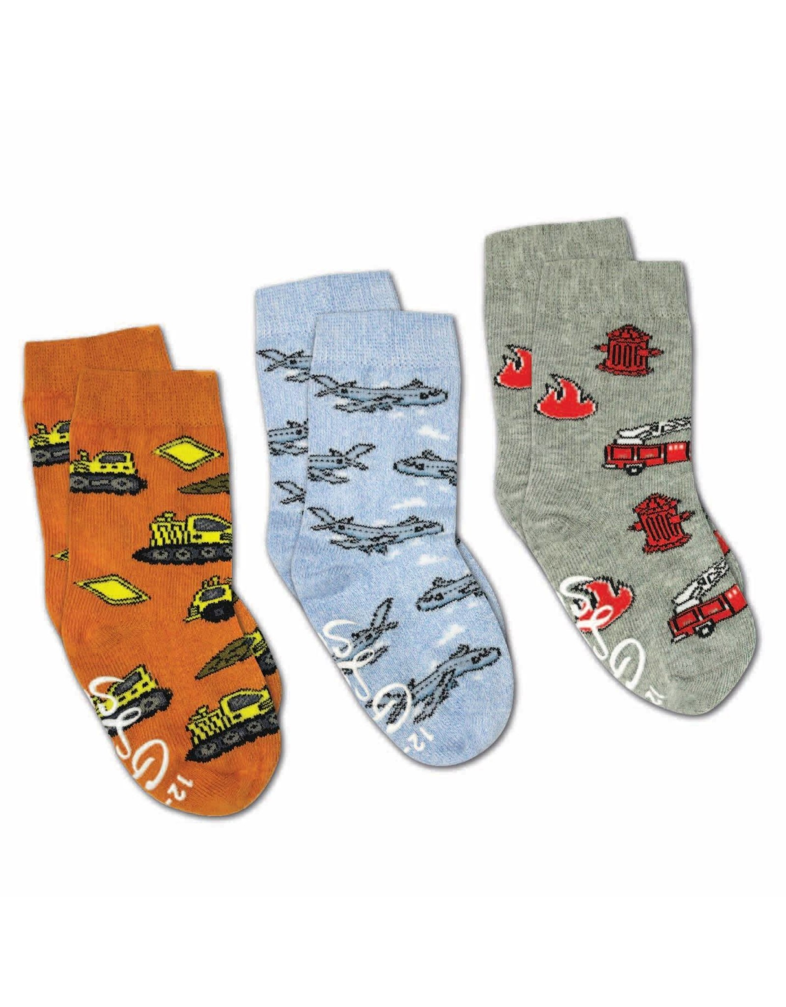 Good Luck Sock Airplanes/Construction/Firefighter Socks, 1-2