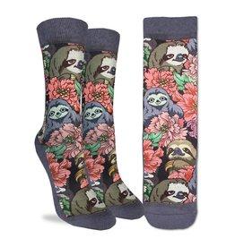 Good Luck Sock Floral Sloths Socks, 5-9