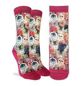 Good Luck Sock Floral Cats Socks, 5-9
