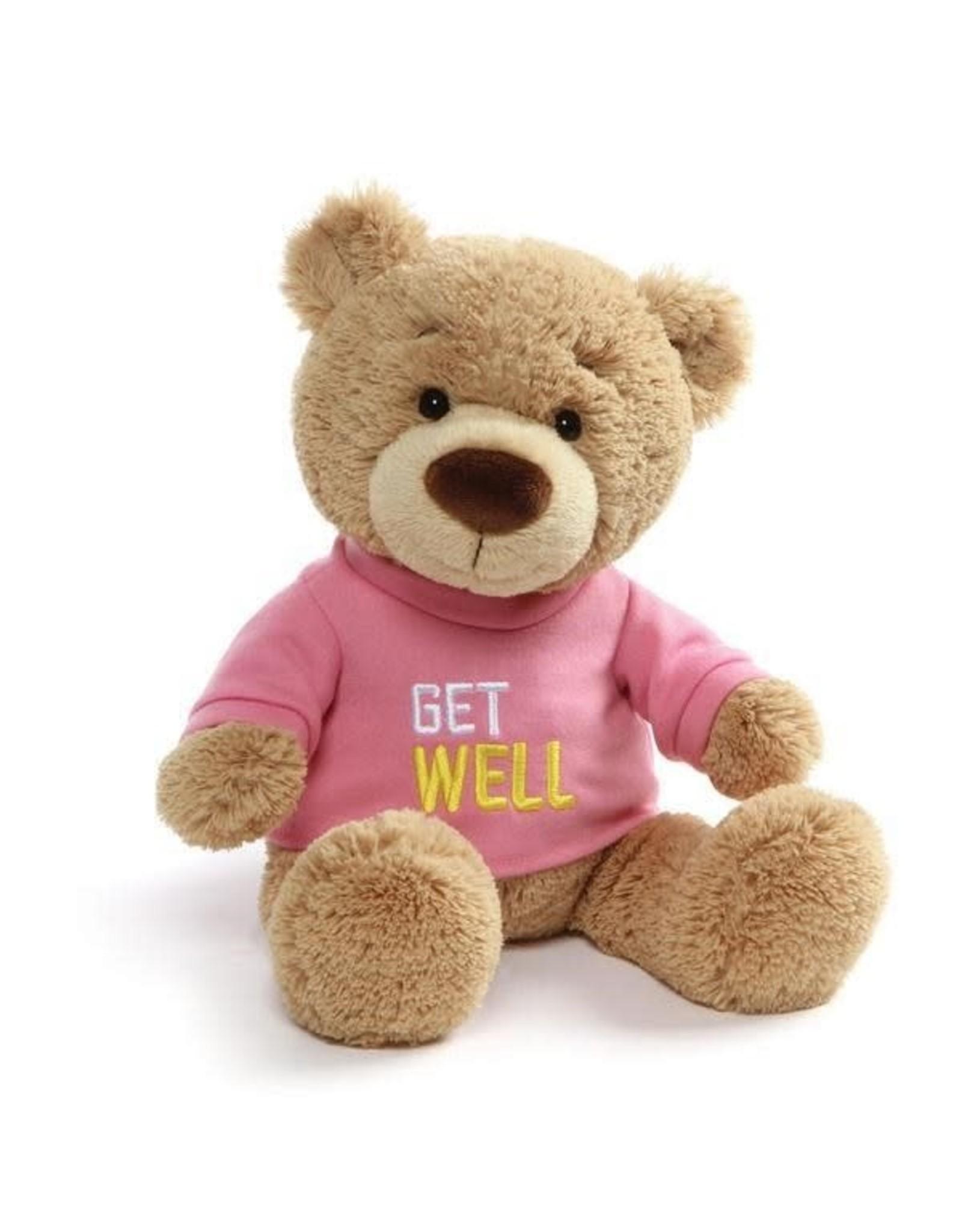 GUND Get Well Bear - pink shirt