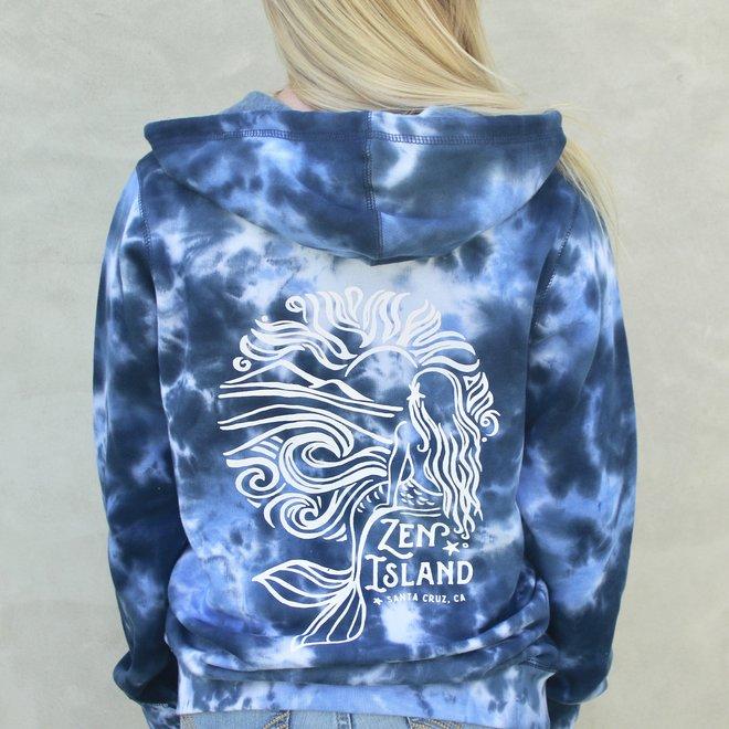 """""""Mermaid Sunrise"""" Blue Tie Dye Zip Sweatshirt"""