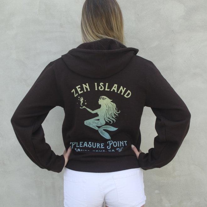 """Mermaid Palms"" Espresso Zip Sweatshirt"
