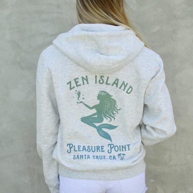 """""""Mermaid Palms"""" Oatmeal Heather Zip Hoodie Sweatshirt"""