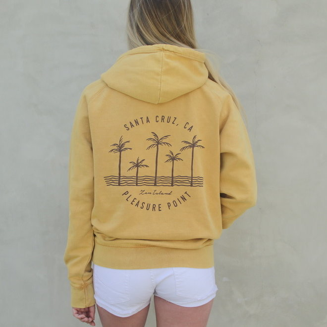 """Palm Trees"" Washed Mustard Raglan Pullover Hoodie Sweatshirt"