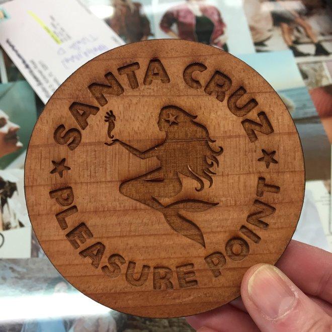 """""""Mermaid Medallion"""" Redwood Coaster"""