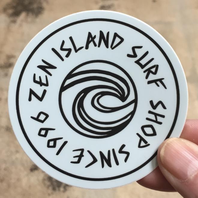 """Zen Island Surf Shop 3"""" Sticker"""