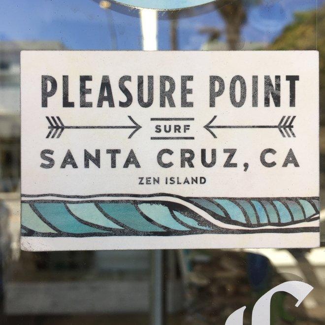 Pleasure Point Wave Rectangle Sticker