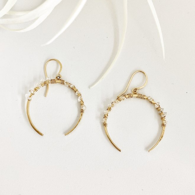 Crescent Herkimer Earrings 14k gold-filled