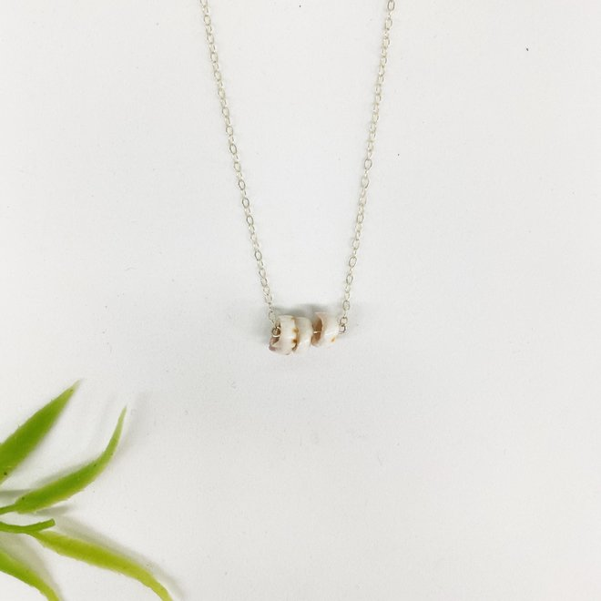 """Mini Puka Row Necklace 18"""" Sterling Silver"""