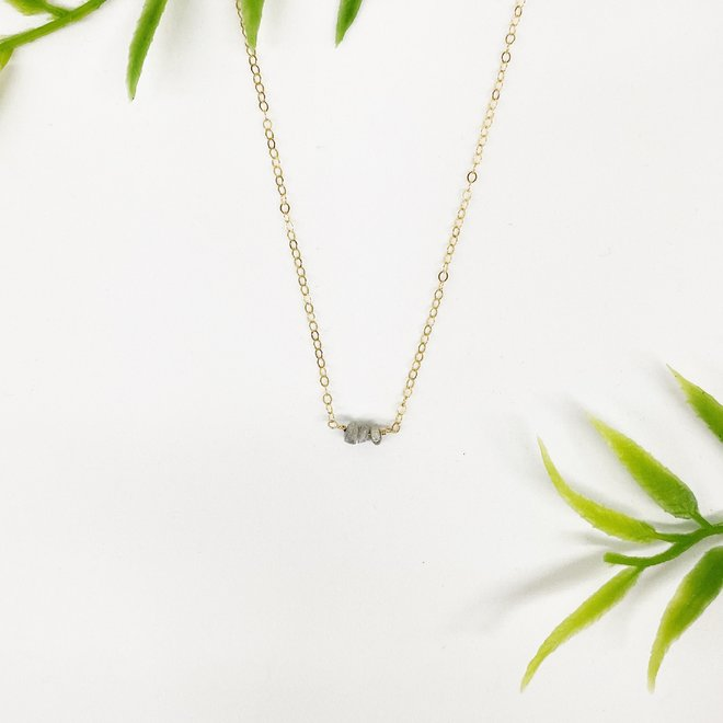 "Raw Diamond Row Necklace 18"" 14k gold-fill"