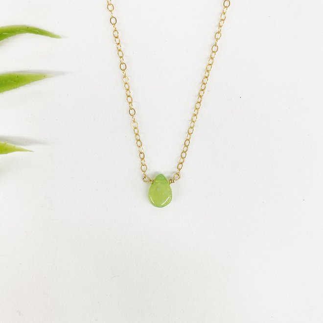 "Green Opal Lux Necklace 18"" 14k gold-filled"