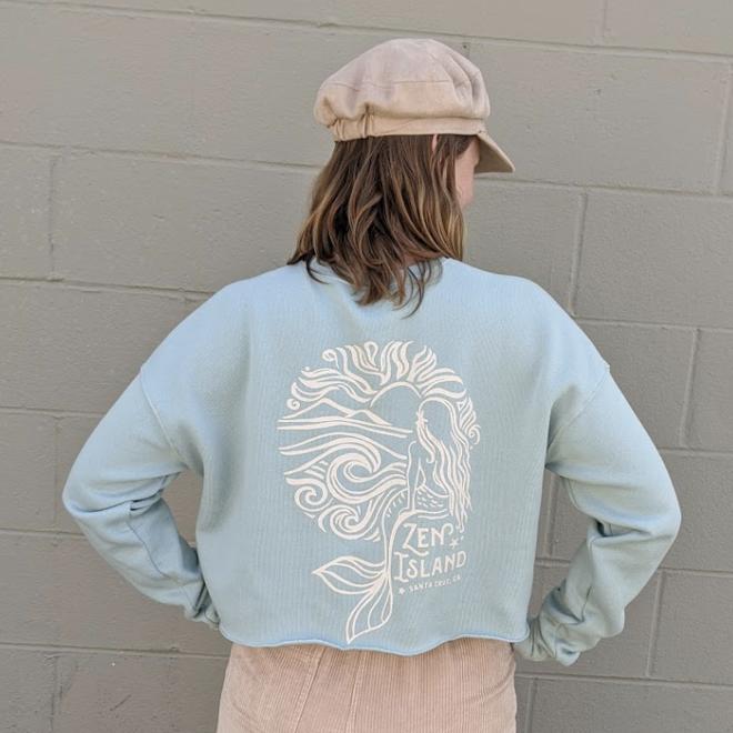 """Mermaid Sunrise"" Dusty Aqua Cropped Crew Sweatshirt"