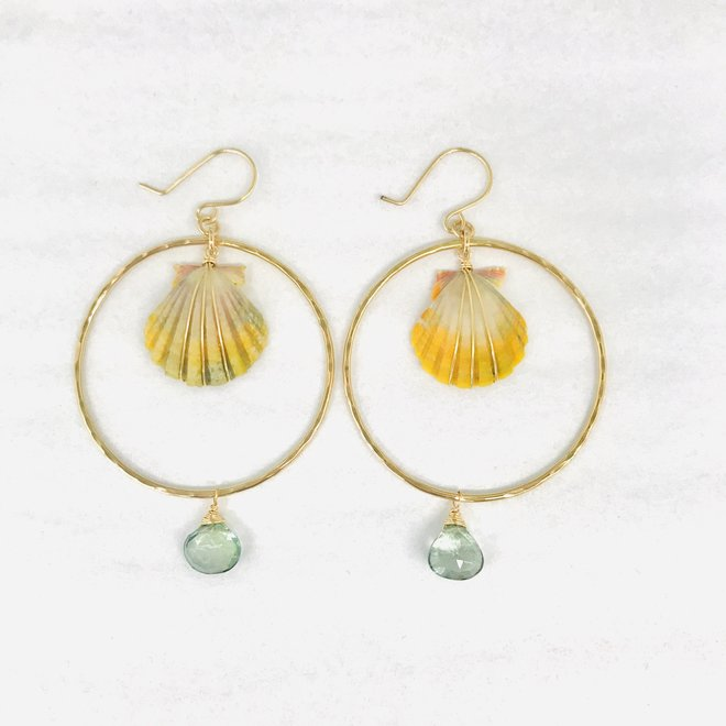 Sunrise & Moonstone Hoop Earring