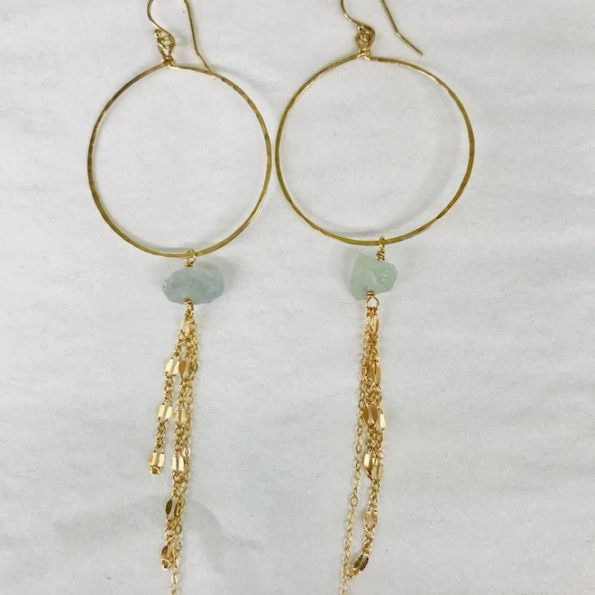Aquamarine Medium Hoop & Chain Earrings