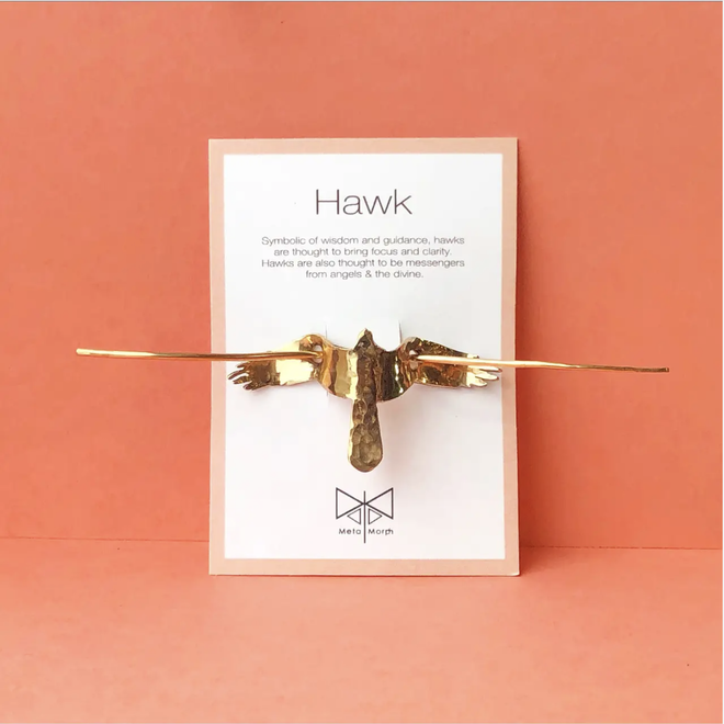 """Hawk"" Bronze Hair Pin"