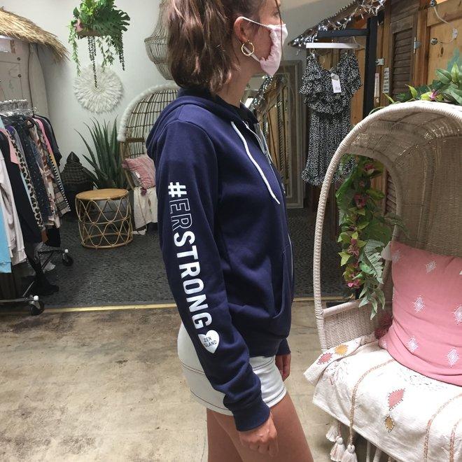"""""""#ER Strong"""" Navy Zip Hoodie Sweatshirt"""