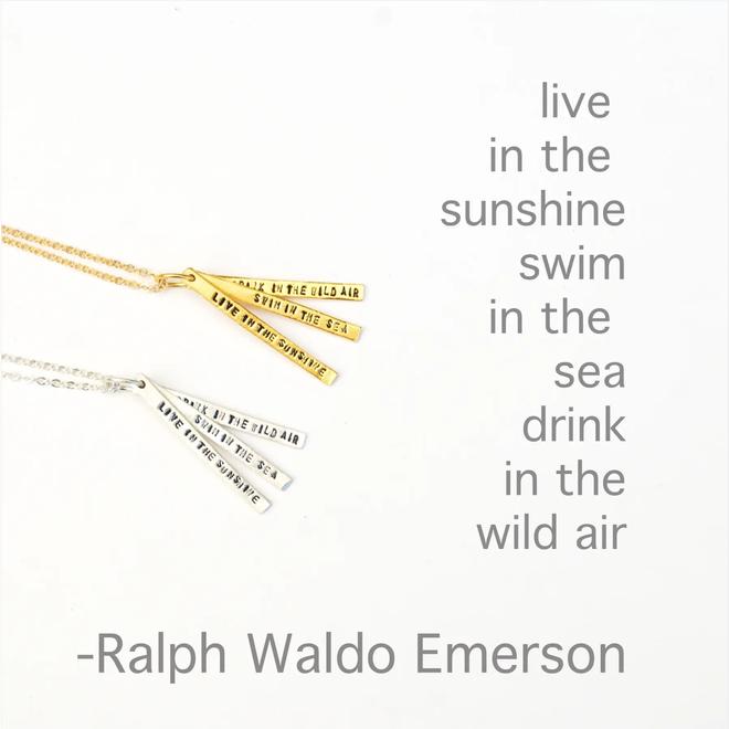"""""""Swim in the Sea"""" Quote Necklace"""