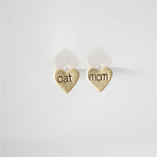 Brass Hand-Stamped Post Earrings