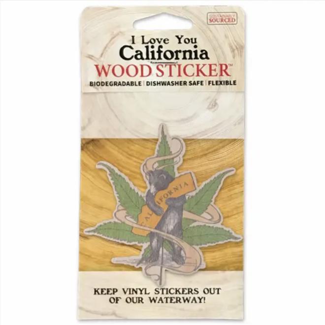 Cannabis CA Bear Hug Wooden Sticker