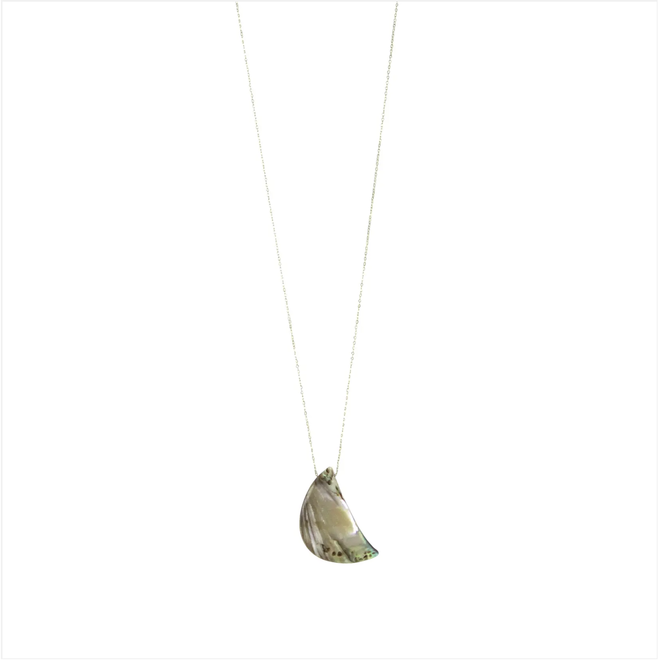"""Abalone Moon Fine Chain 18"""" Necklace"""