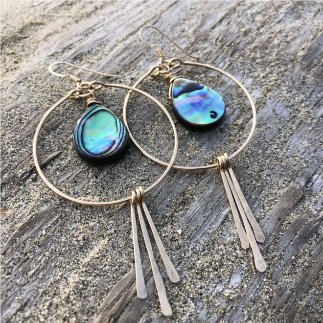 Circle Hoops with Abalone and Spikes