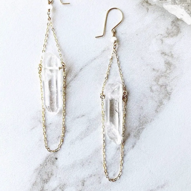 Raw Crystal Quartz Drop Earrings