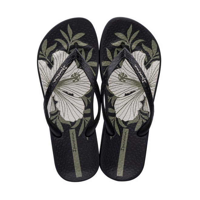 Ana Black/Hibiscus Flip Flops