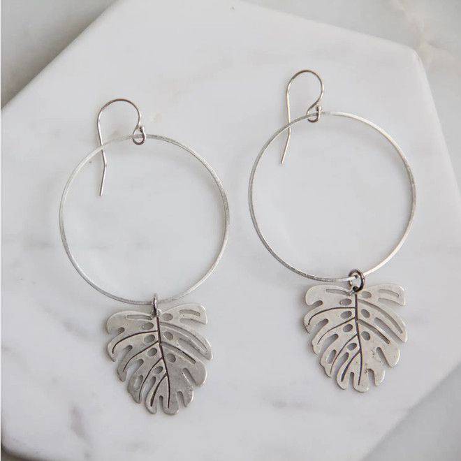 Palm Frond Leaf Hoop Earrings