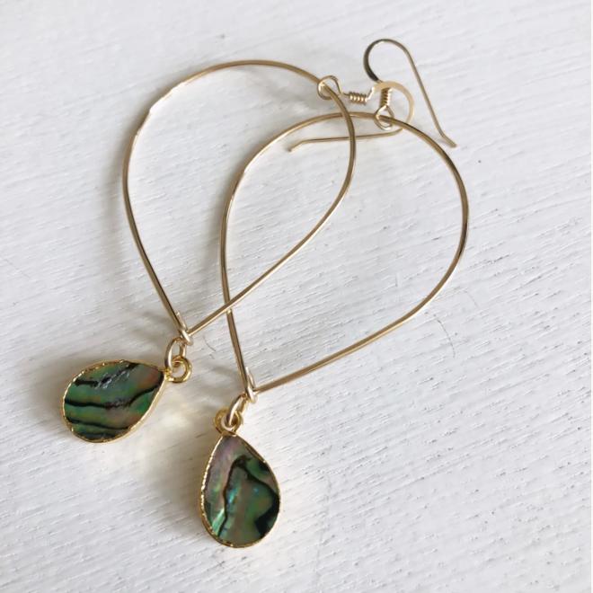 Inverted Teardrop Abalone Earrings