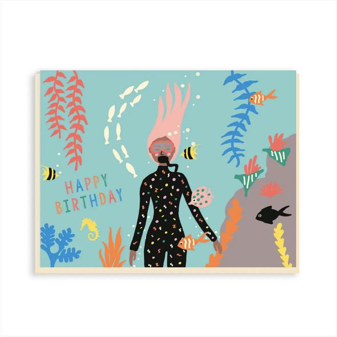 """Diving Girl"" Greeting Card"