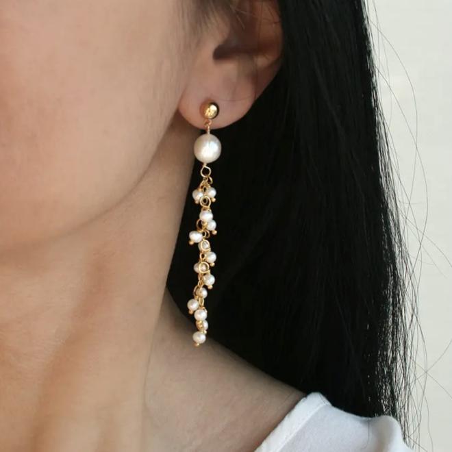 """""""Pearl Waterfall"""" Earrings"""