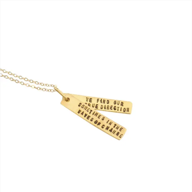 """""""Waves of Change"""" Gold Quote Necklace"""