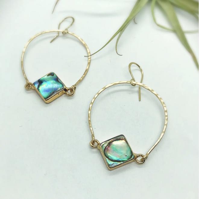 Beach Babe Abalone Small Hoop Earrings