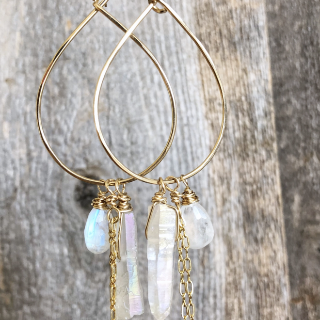 Teardrop with Moonstone and Crystal Earrings