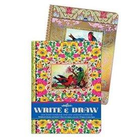 Eeboo Eeboo Victorian Birds Write & Draw Notebook Set