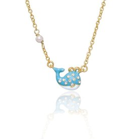 Girl Nation Blue Whale Enamel w/Crystal Necklace