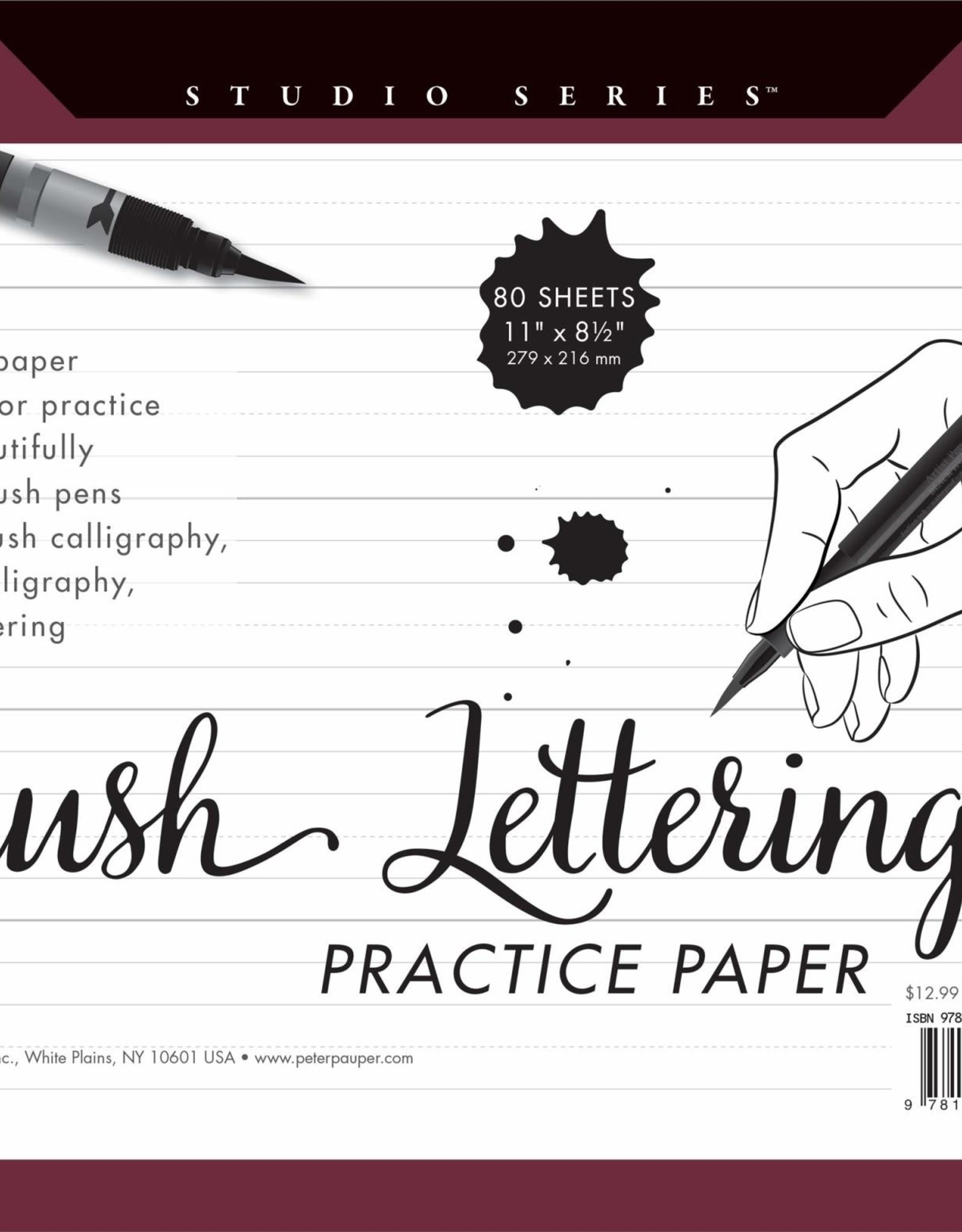 Peter Pauper Press, Inc. Peter Pauper Studio Series Brush Lettering Practice Paper