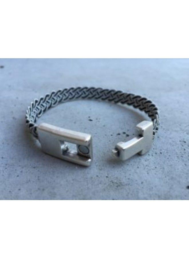 Hand Braided Bracelet  silver/pewter/copper thread
