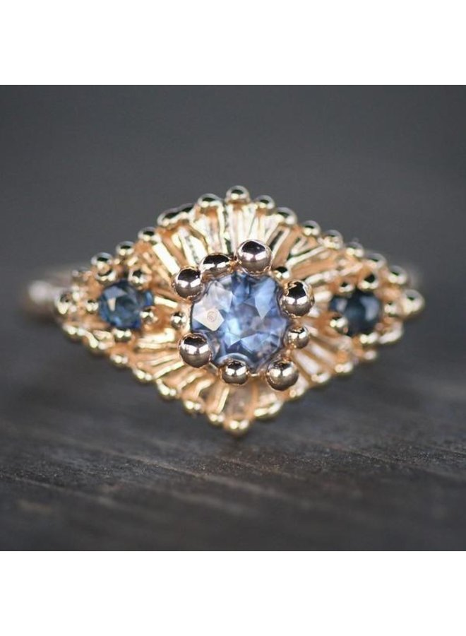 Celestial Ring Cobalt Blue Sapphires 14k Yellow Gold Size 5.5