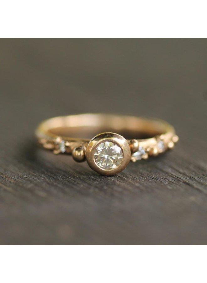 West Coast Rain Engagment Ring Diamonds w/ 14k gold band size 7