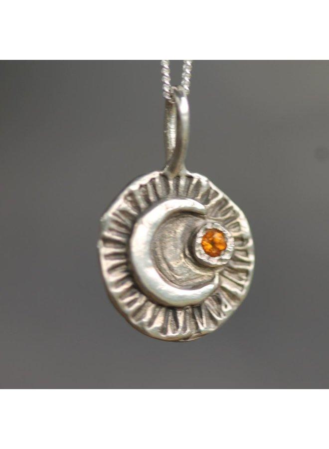 Starlight Starbright Pendant, silver,citrine,ss chain