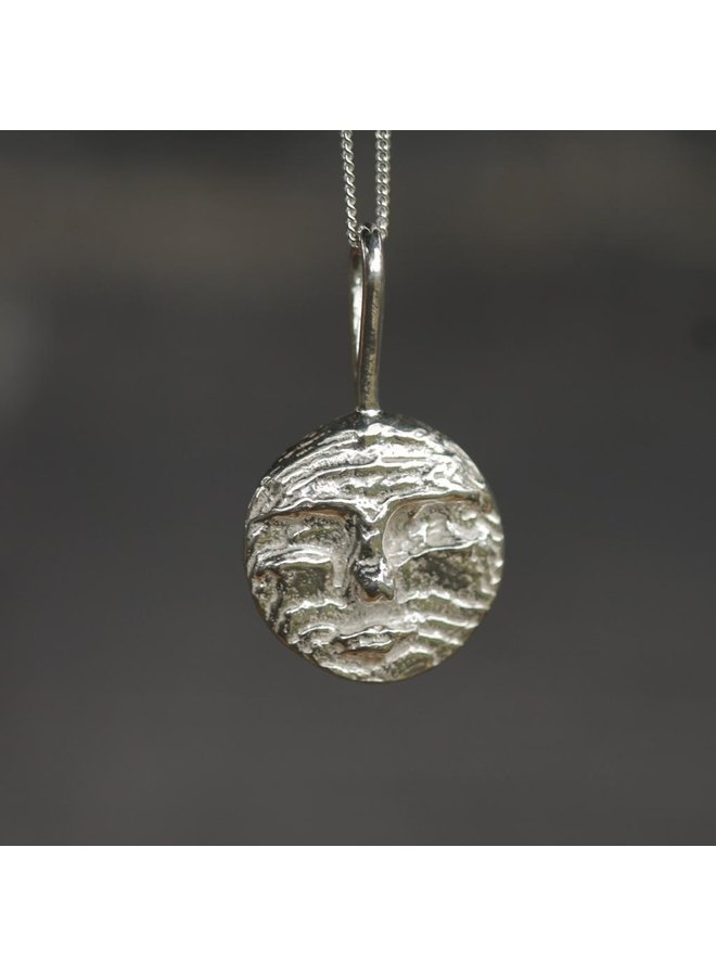 Moon Face Pendant silver w/ss chain