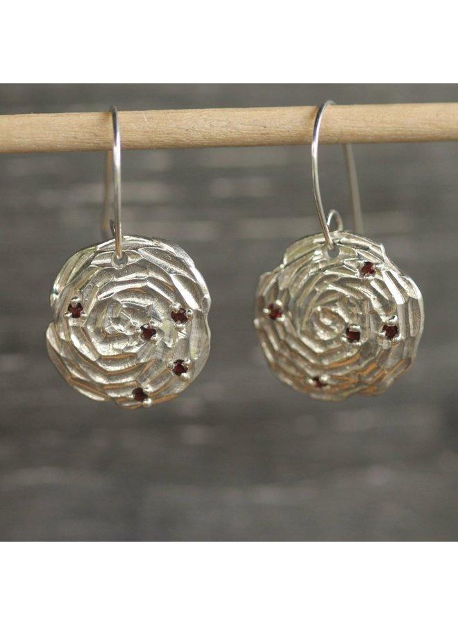 Garnet Rose Mandala Earrings garnet/ss