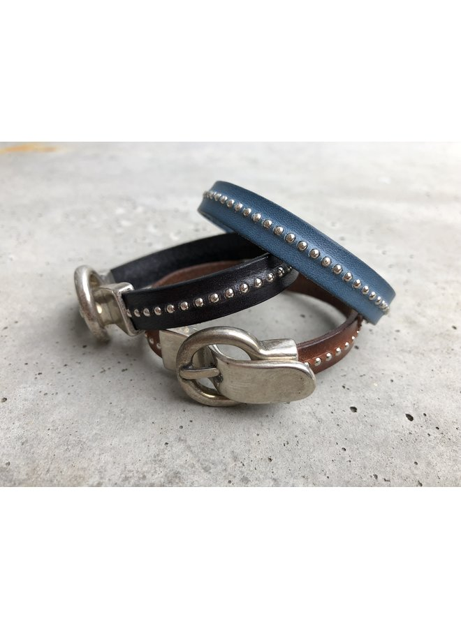 Leather band with silver studs and buckle clasp