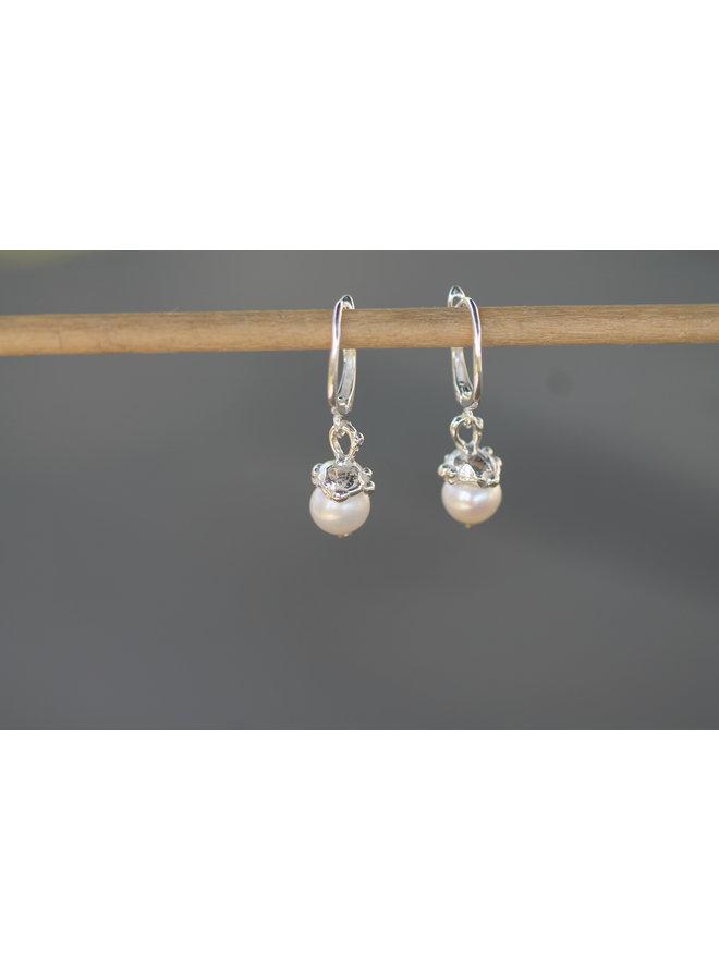 Pearl Earrings w/ SS small cap