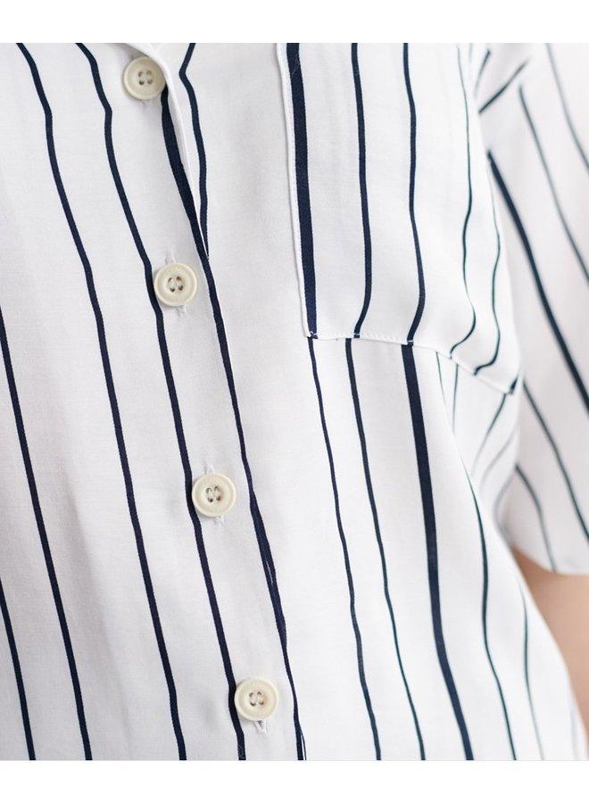 Edit Revere Blouse - white stripe